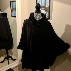 Jackets & Blazers - By Very a Fleece & Faux Fur Trim Blanket Coat/Cape